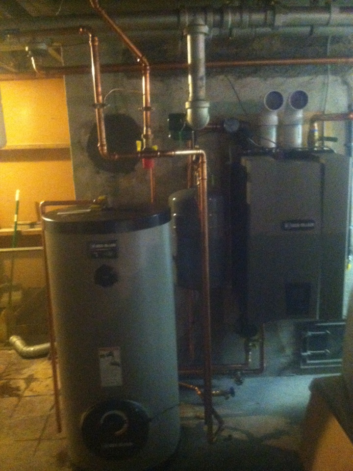 Princeton, NJ - This morning we are installing a hot water storage tank off of a new boiler