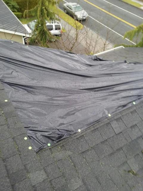 Tacoma, WA - If parts of your roof are starting to look like this, it may be time to call for a leak repair and get the problem fixed once and for all! This is a leak in a valley caused by improper installation and some nails placed in the wrong spot. The valley was torn out, two layers of tribuilt underlayment were put down and new GAF composition shingles were installed and blended into the exsiting roof. Another problem solved!