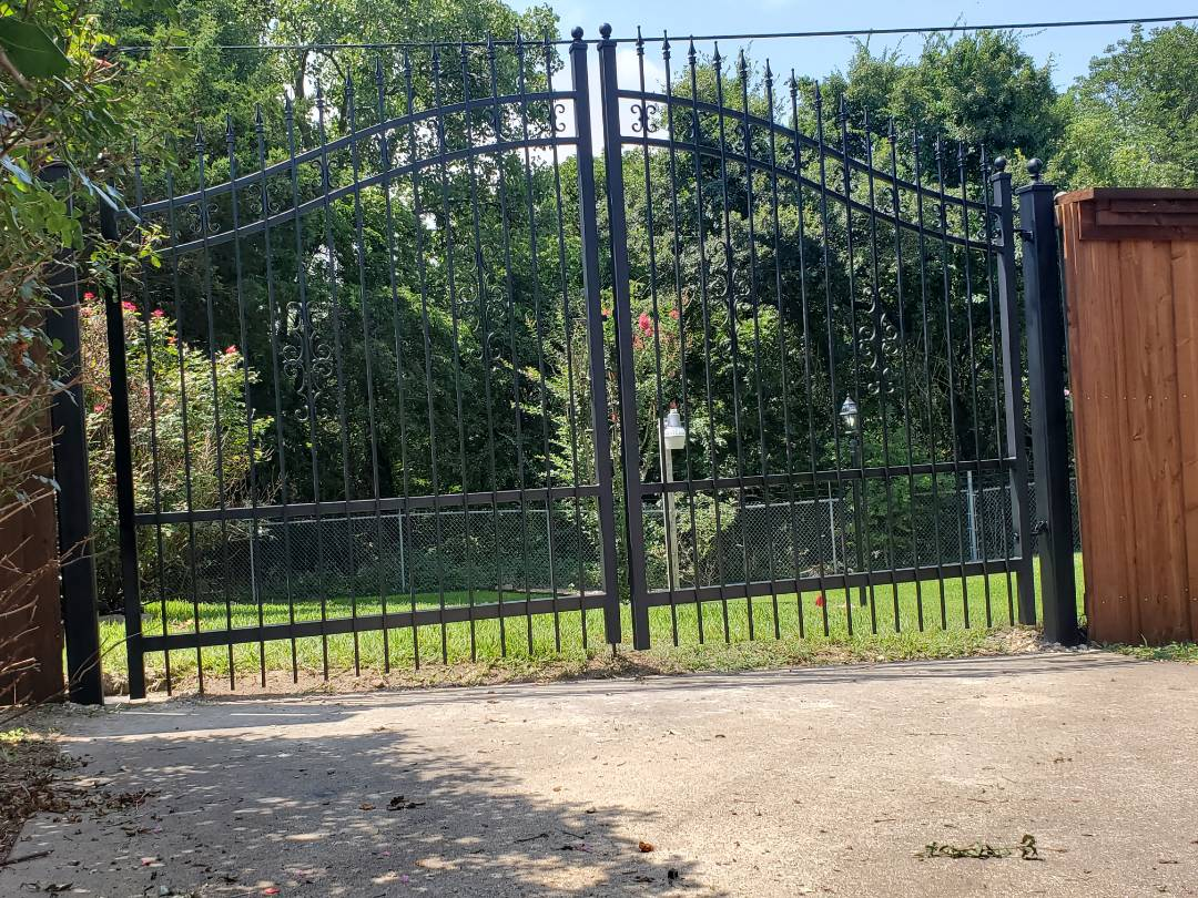 12ft double gate arch wrought iron design