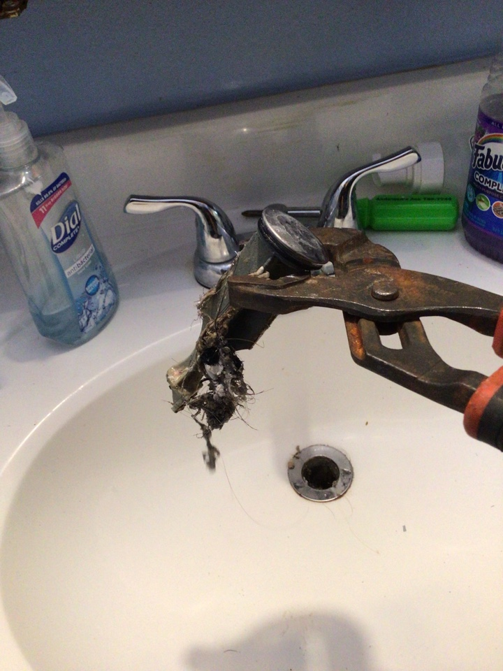Deltona, FL - Client have bathroom sink drain clogged, i cleaner the drain from the bathroom sink.