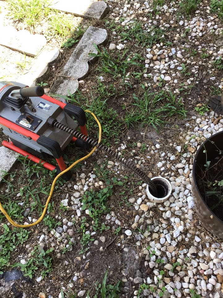 Deltona, FL - Client have main drain line clogged, i cleaner the drain line from the cleanout with my drain cleaner machine.