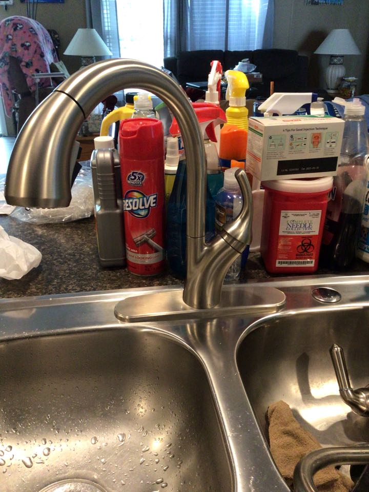 Orange City, FL - Client provided new kitchen sink faucet, i install new faucet.