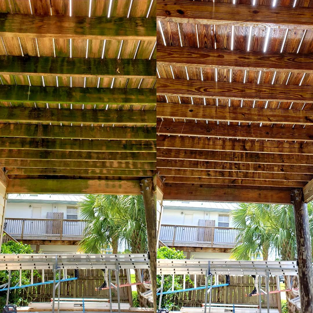 Deck cleaning on Pensacola Beach