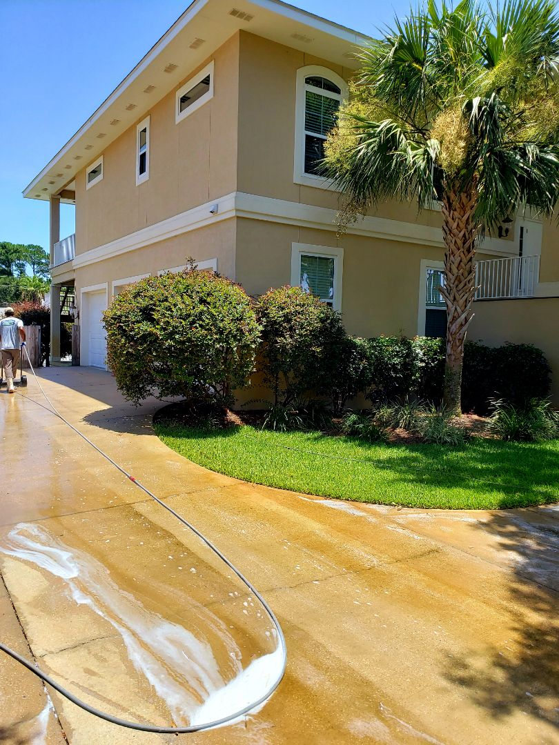 House washing, driveway, pool deck & dock cleaning in Gulf Breeze.