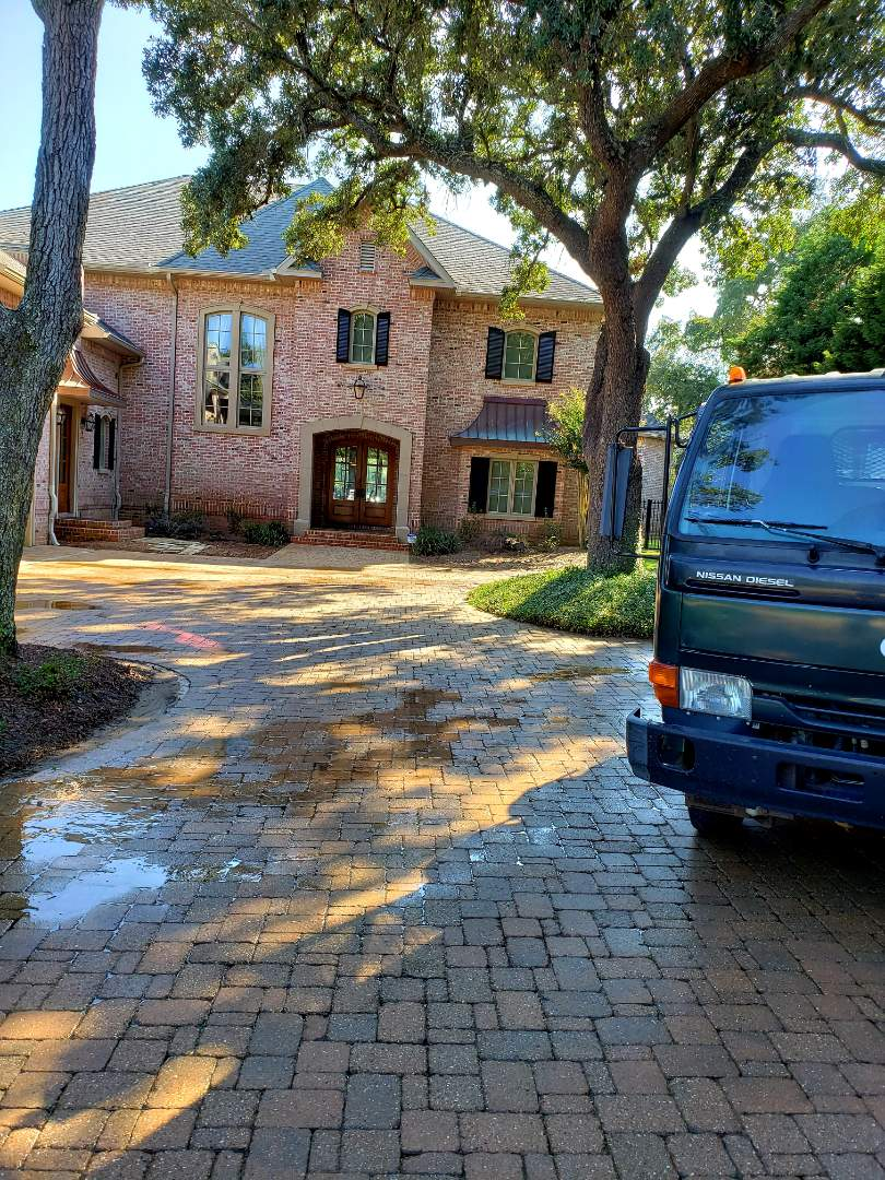 Pool deck & driveway cleaning in Gulf Breeze.