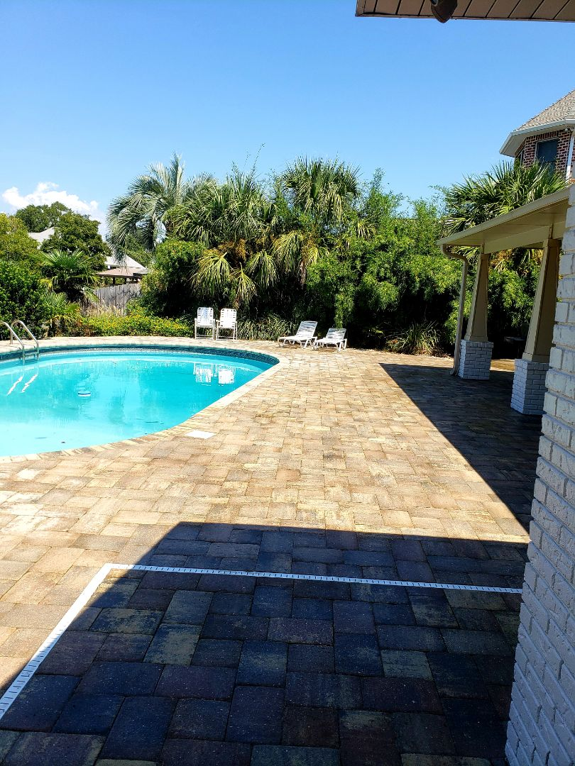 Pool deck cleaning in Gulf Breeze.