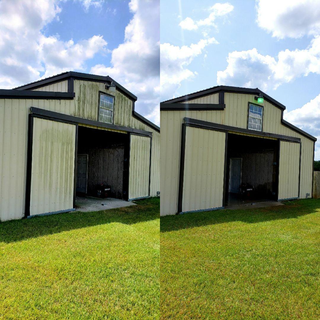 Pressure washing barn, pressure washing house and concrete.