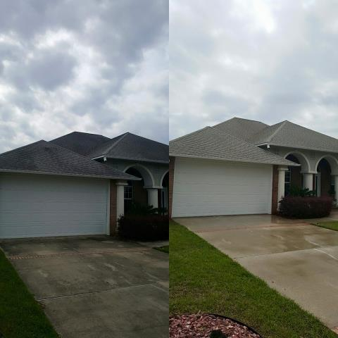 Beauchamp Power Washing is cleaning a roof, house washing and driveway cleaning in Gulf Breeze Florida.