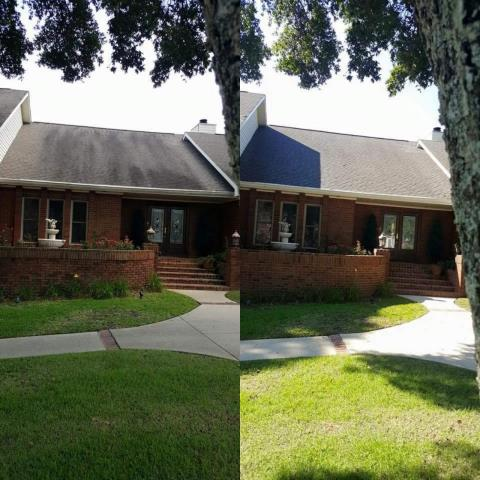 Beauchamp Power Washing is roof cleaning, house washing and pressure washing a driveway in Pensacola Florida.