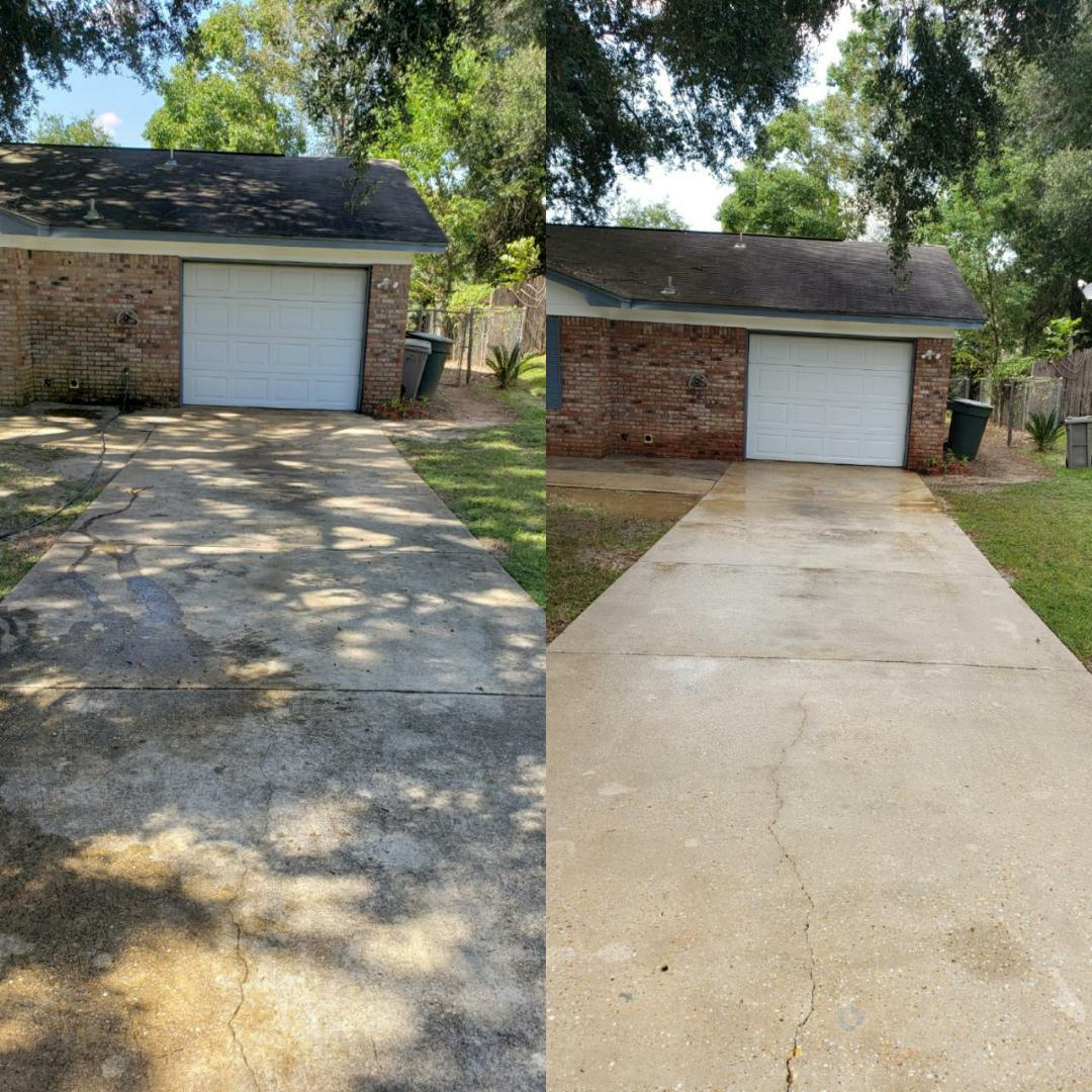 House washing & pressure washing concrete.