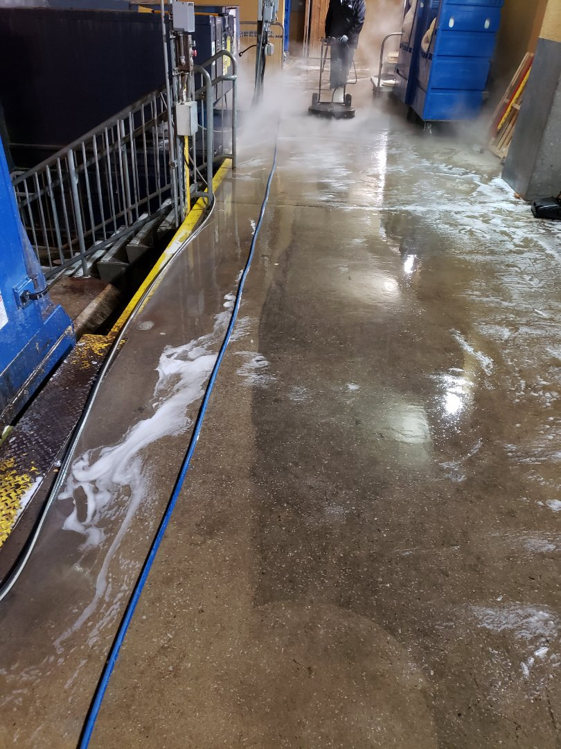 Cleaning loading dock in Pensacola.
