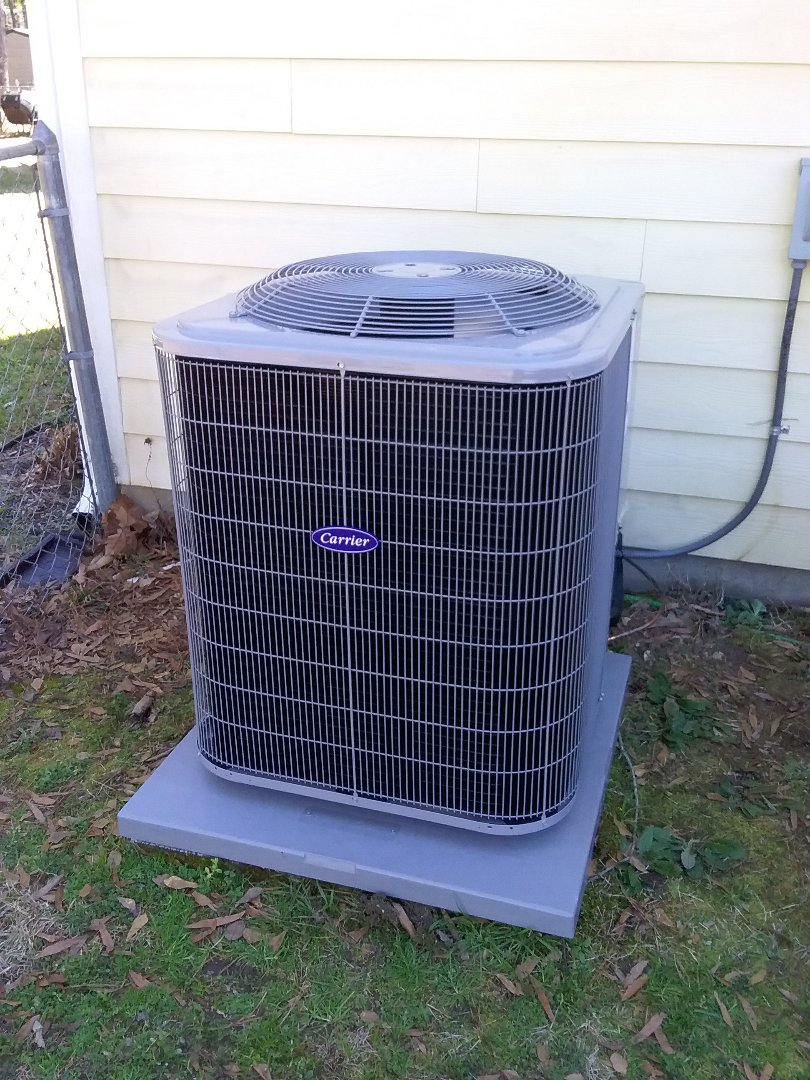 Performed install of new Carrier heat pump