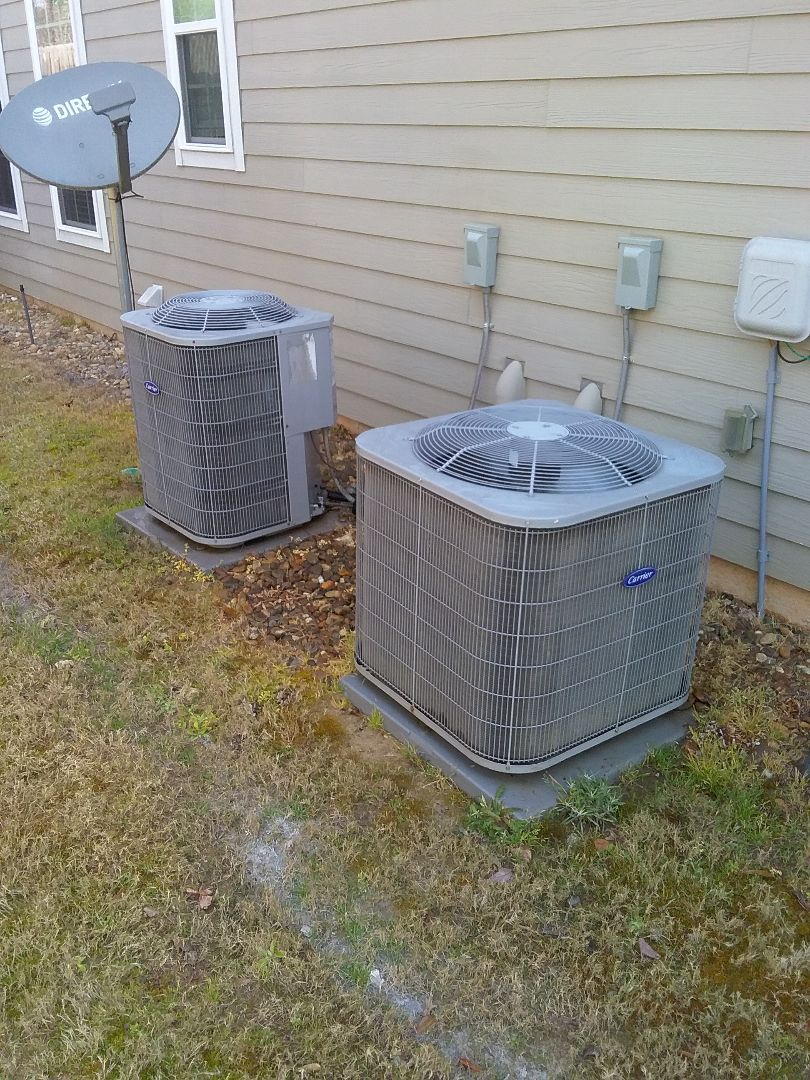 Performed maintenance on Carrier heat pumps