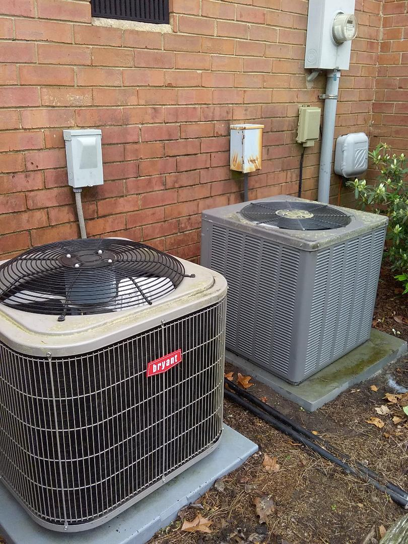 Performed maintenance on bryant and rheem air conditioners