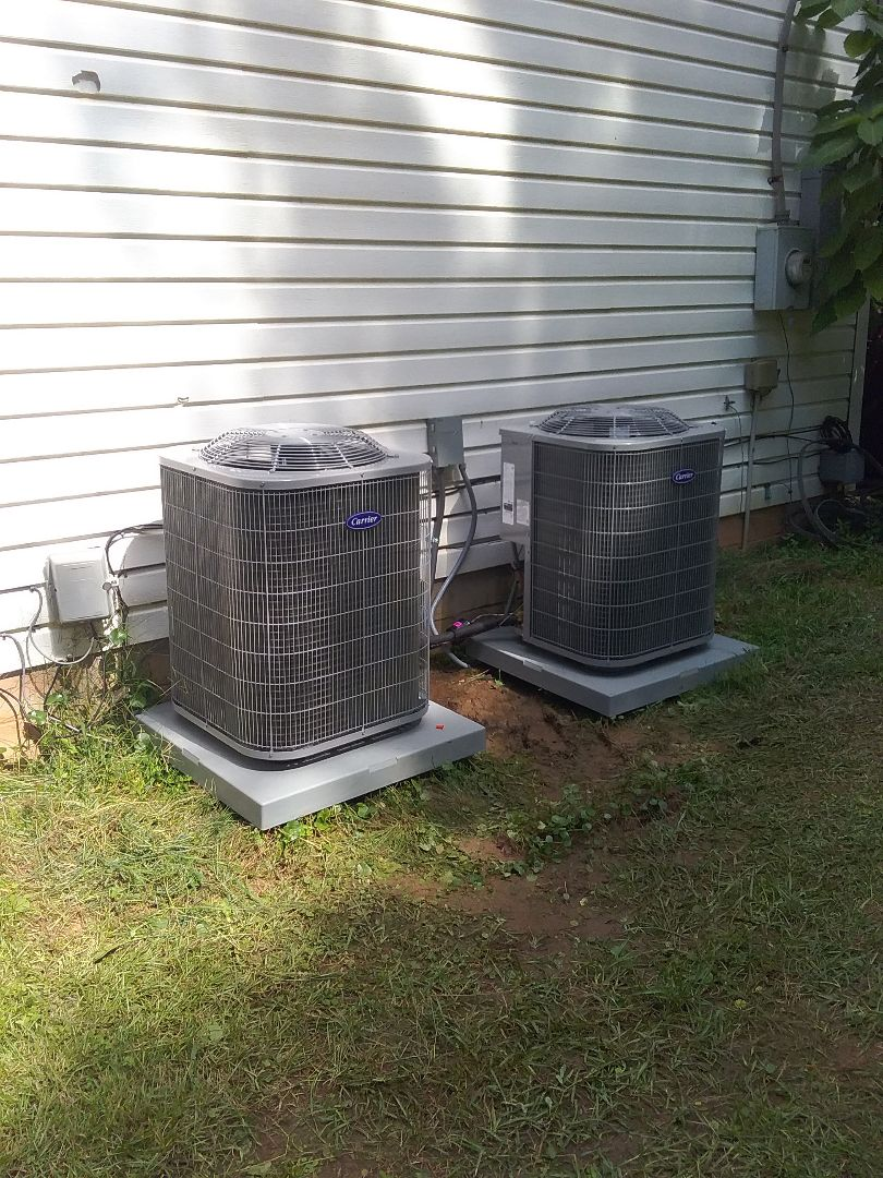 Performed install of new Carrier heat pumps