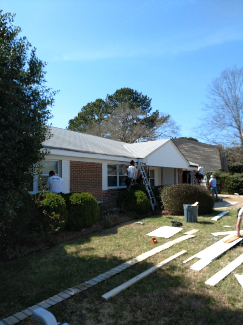 Virginia Beach, VA - New soffit, freeze and fascia wrap going up before we install new LeafGuard gutters
