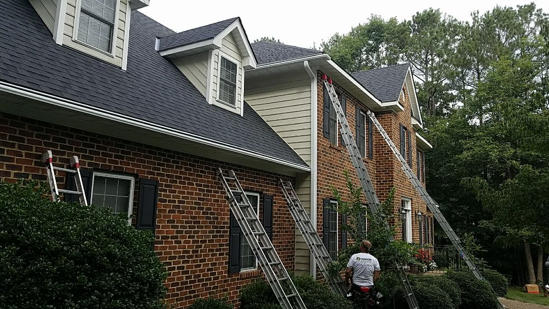 Chesterfield, VA - Clog free LeafGuard gutter going up in Chesterfield