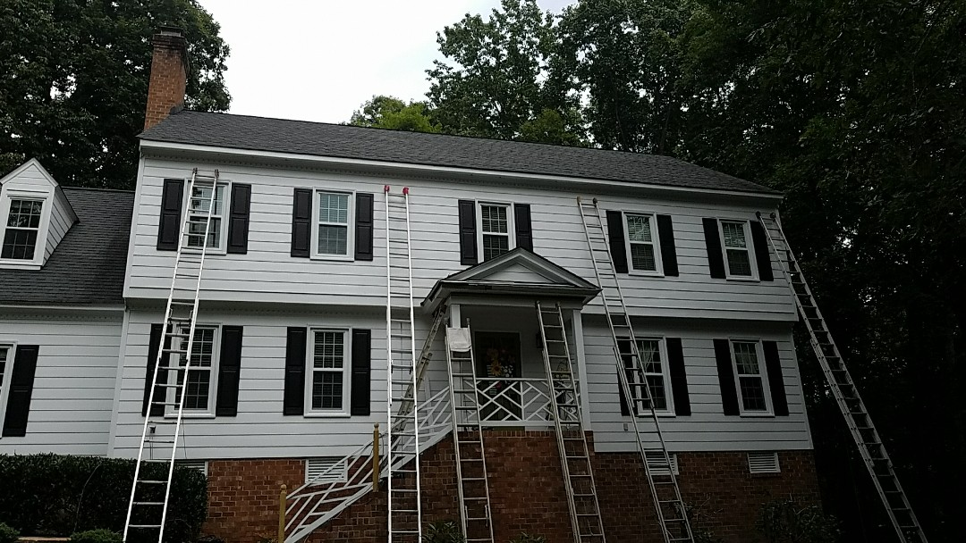 Midlothian, VA - New fascia and trip wrap being installed before some LeafGuard gutters