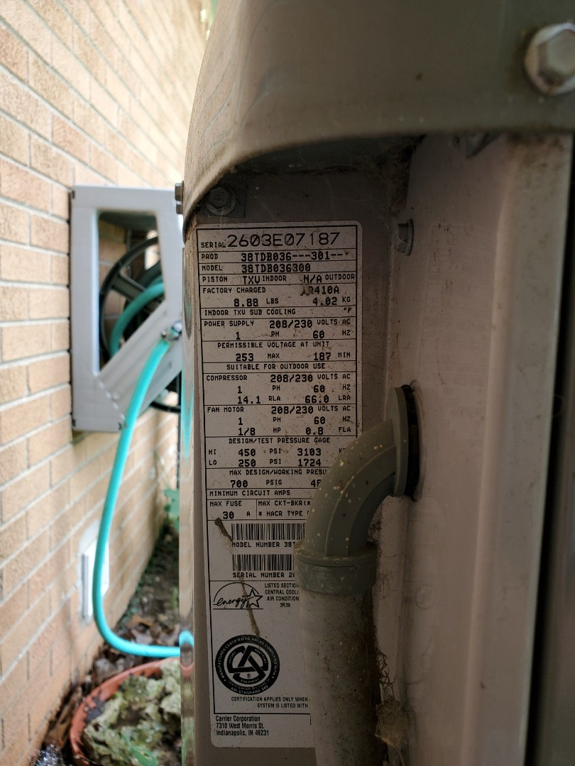 Shelby Charter Township, MI - Air conditioner service on carrier unit. Carrier ac installed by another contractor in 2003. Found unit low on 410a freon. Charged properly. Air conditioner now cooling good.
