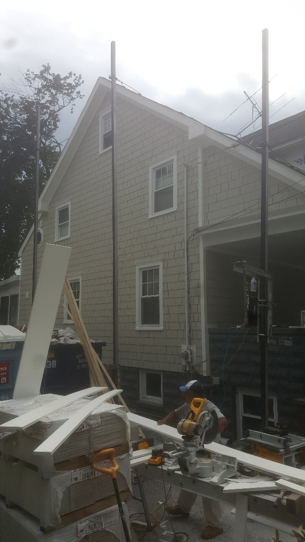 Westwood, NJ - Progress is looking good here in Westwood. ( James Hardie Shakes)