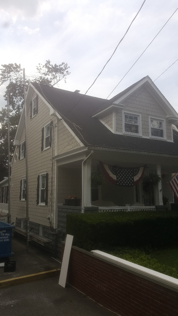 Tenafly, NJ - Almost done with our Westwood James Hardie Shakes ( Color: Cobblestone) Siding project.