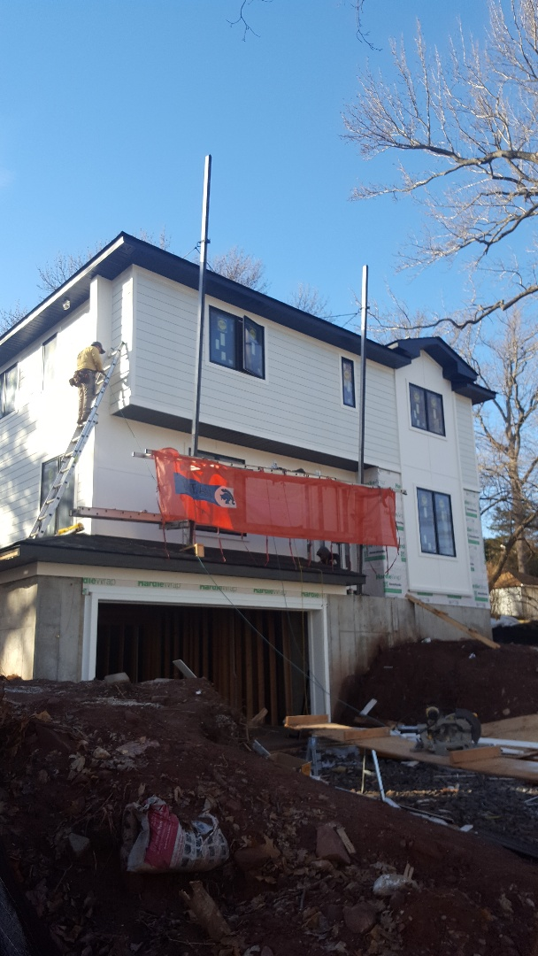 Cresskill, NJ - Finishing up on our James Hardie fiber cement siding with a modern touch here in Cresskill New Jersey.