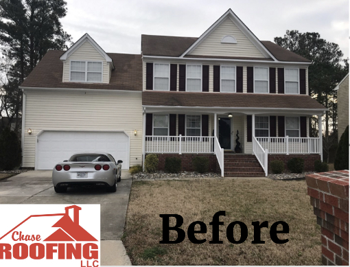 Hampton, VA - A complete roof replacement with a Golden Pledge Warranty which included, GAF Felt Buster Synthetic synthetic underlayment over roof deck. GAF Weather Watch Ice & Waterat eaves,valleys, sidewalls, and around penetrations. GAF Pro Startperimeter starter course on eaves and rakes. GAF Timberline HD shingles in the color Barkwood. Chase roofing provides a 25-year Workmanship warranty. GAF provides a 50 year material warranty.