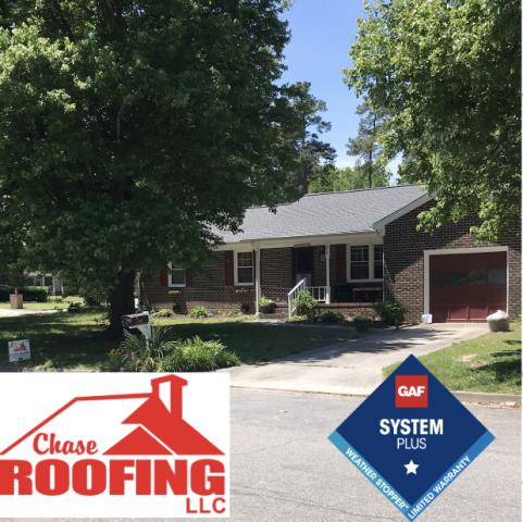 Poquoson, VA - Chase Roofing LLC Completed a complete roof replacement with a GAF Systems Plus Warranty. This repacement was done with GAF Timberline HD shingles. Chase Roofing provided a 10-year workmanship warranty. GAF provided a Systems Plus 50-year non-prorated warranty on materials.