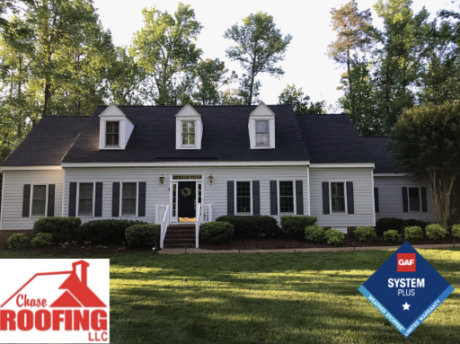 Williamsburg, VA - Chase Roofing LLC Completed a complete roof replacement with a GAF Systems Plus Warranty. This repacement was done with GAF Timberline HD shingles in the color Charcoal. Chase Roofing provided a 10-year workmanship warranty. GAF provided a Systems Plus 50-year non-prorated warranty on materials.