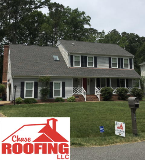 Yorktown, VA - Chase Roofing LLC completed a GAF systems plus warranty on this full roof replacement.