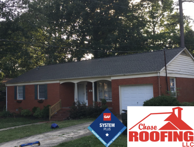 Newport News, VA - Chase Roofing LLC completed a full roof replacement with a GAF Systems Plus Warranty. This warranty includes a 10-year workmanship warranty from Chase Roofing and a 50-year warranty on materials backed by GAF.