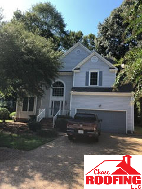 Yorktown, VA - Chase Roofing completed a full roof replacement. This roof replacement was done using GAF Weathered Wood Timberline HD Shingles.