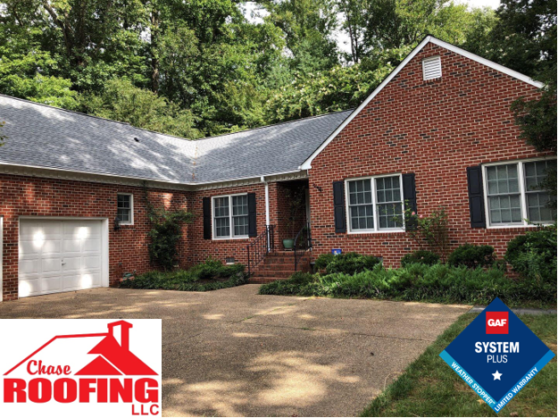Williamsburg, VA - Chase Roofing LLC completed a roof replacement using a GAF System Plus warranty. Chase Roofing LLC provided a 10-year Workmanship Warranty. GAF provided a 50 year non-prorated warranty on materials.