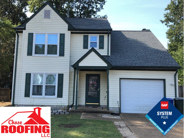 Newport News, VA - Chase Roofing LLC completed a full roof replacement under a GAF Systems Plus Warranty.