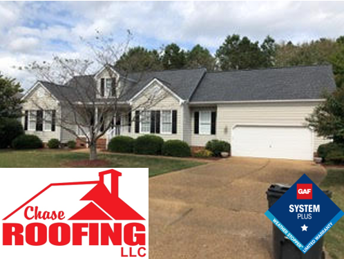 Williamsburg, VA - Chase Roofing LLC completed a roof replacement under a GAF Systems Plus Warranty.