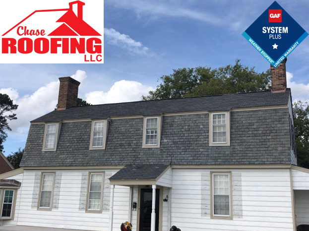 Hampton, VA - Chase Roofing LLC completed a GAF Systems Plus Warranty roof replacement using GAF Slateline shingles.
