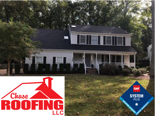 Yorktown, VA - Chase Roofing LLC completed a full roof replacement with a new GAF Systems Plus Warranty.