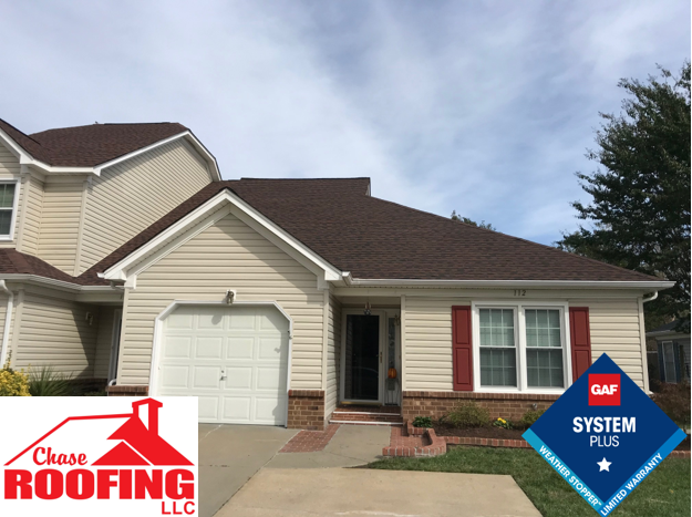 Yorktown, VA - Chase Roofing LLC completed a full roof replacement with a GAF Systems Plus Warranty.