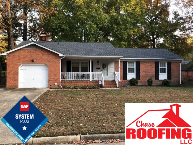 Newport News, VA - Chase Roofing LLC completed a full roof replacement with a GAF Systems Plus Warranty.