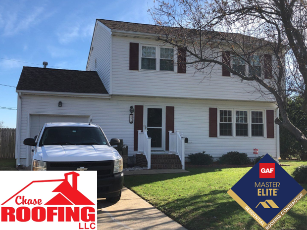 Hampton, VA - Chase Roofing LLC completed a full roof replacement with a GAF Golden Pledge Warranty.