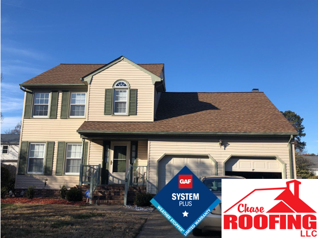 Hampton, VA - Chase Roofing LLC completed a full roof replacement with a GAF System Plus Warranty.