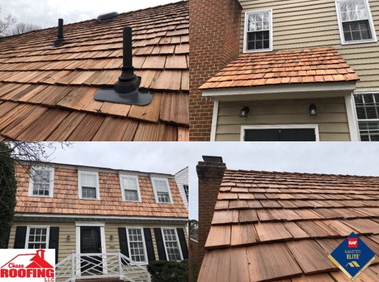 Williamsburg, VA - Chase Roofing LLC just completed this stunning Cedar Shake, full roof replacement. Cedar Shakes are interesting as they are made by splitting cedar wood which gives them a naturally beautiful look. The unevenness of the shakes and natural wood color gives any home a very unique look. Maintained correctly, these roofs can last for many years.