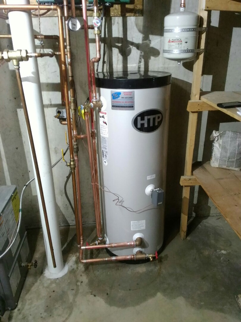 Arvada, CO - Replace existind boiler mate side arm water heater with new 45 gallon HTP side arm water heater.