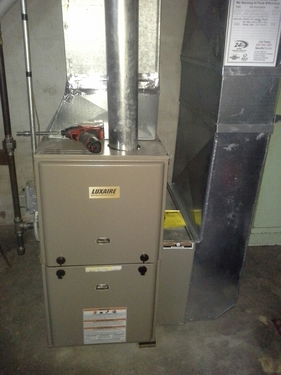 Evansville, WI - Furnace inspection on a luxaire furnace