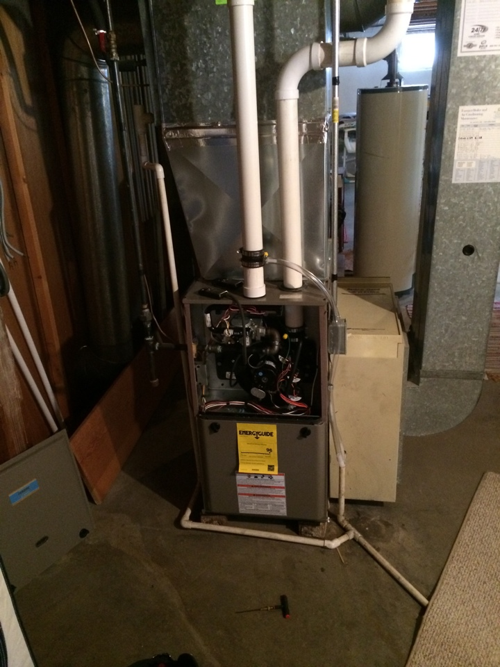 Cobb, WI - 1st year maintenance check on a two stage luxaire furnace.