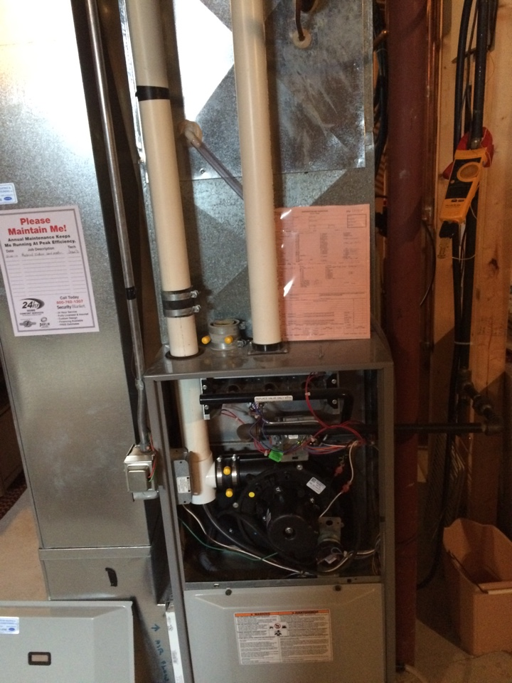 Mayville, WI - Clean and tune on a comfortmaker furnace and air conditioner. I replaced a weak start capacitor on the blower motor.