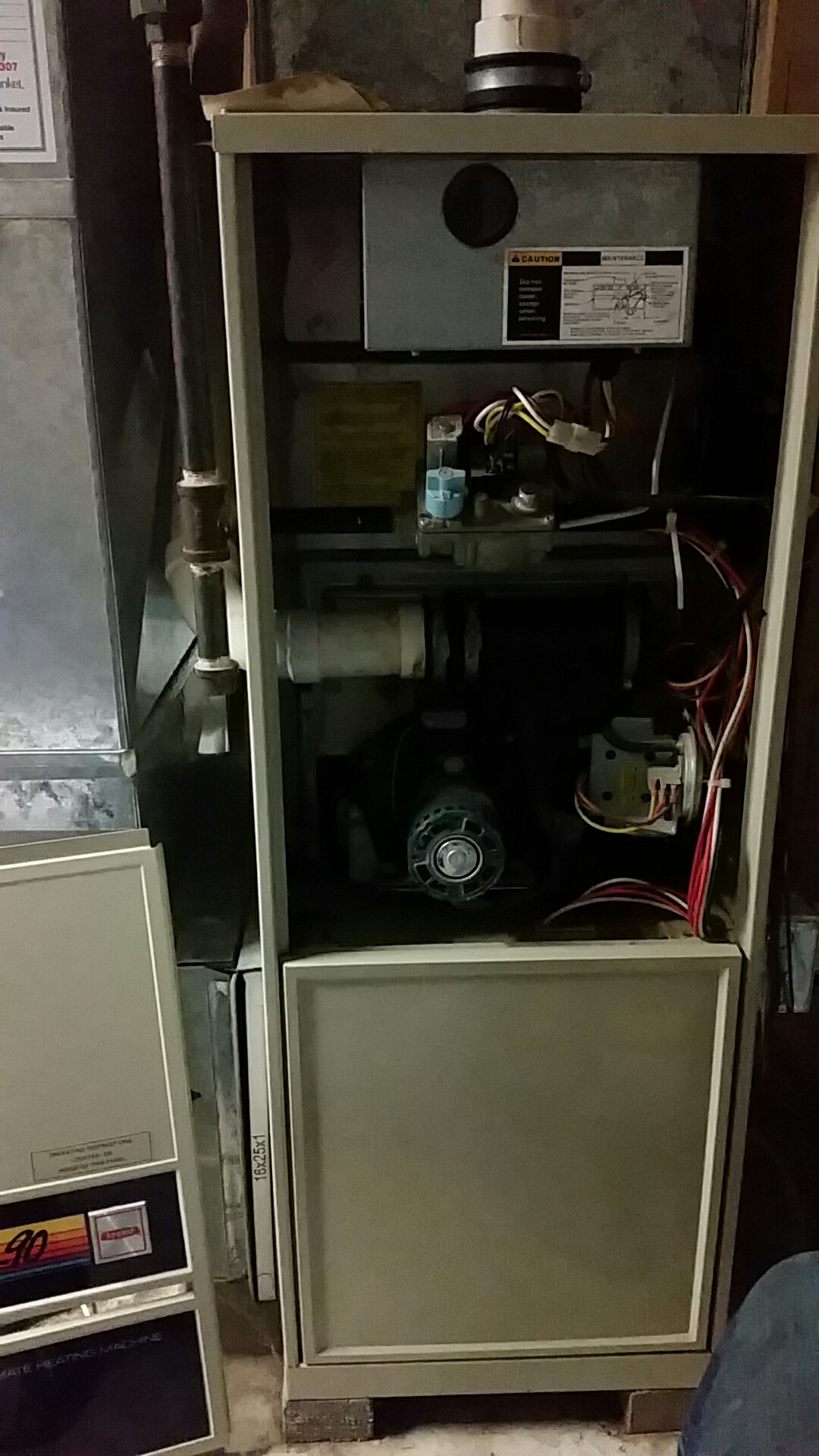 Sun Prairie, WI - 27 y.o Bryant 60k unit. System showing it's age. Areas of concern (Inducer boot leaks, weak blower capacitor, etc.)  Recommend Security Blanket Membership as well as a Free estimate on new equipment to compare cost of repair vs investment.