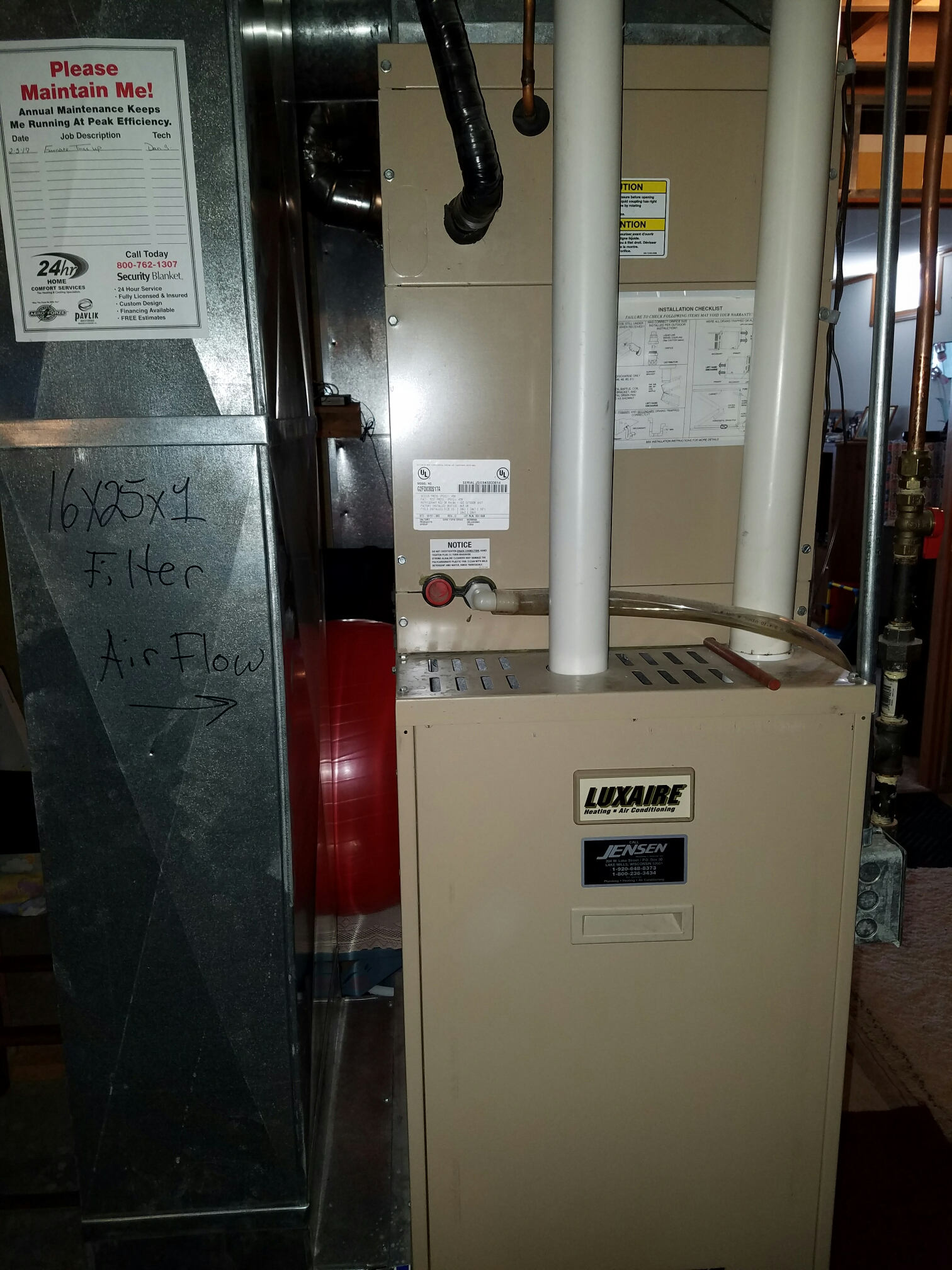 Lake Mills, WI - Maintenance on a Luxaire furnace