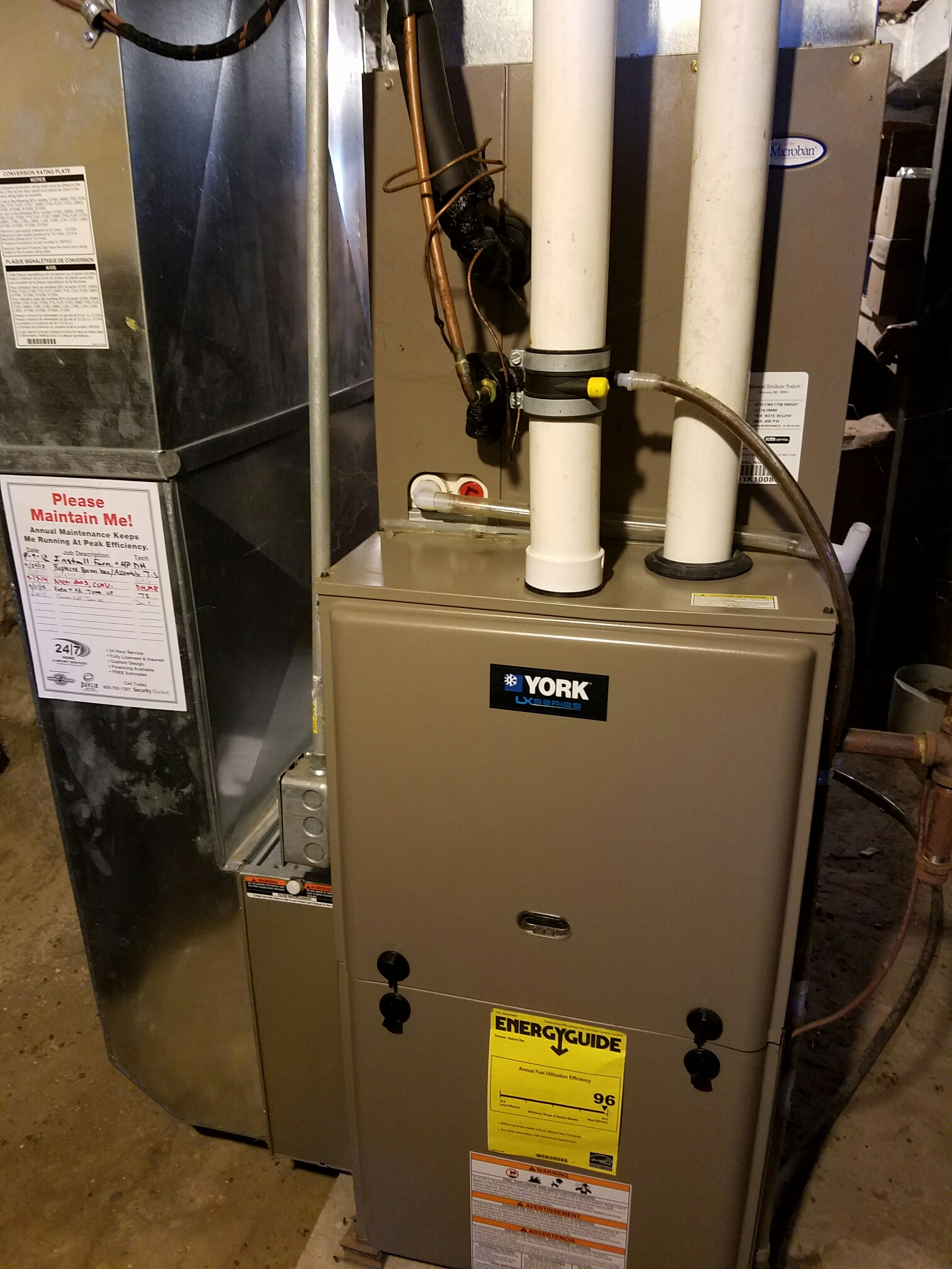 Whitewater, WI - Maintenance on a York furnace and Heat Pump