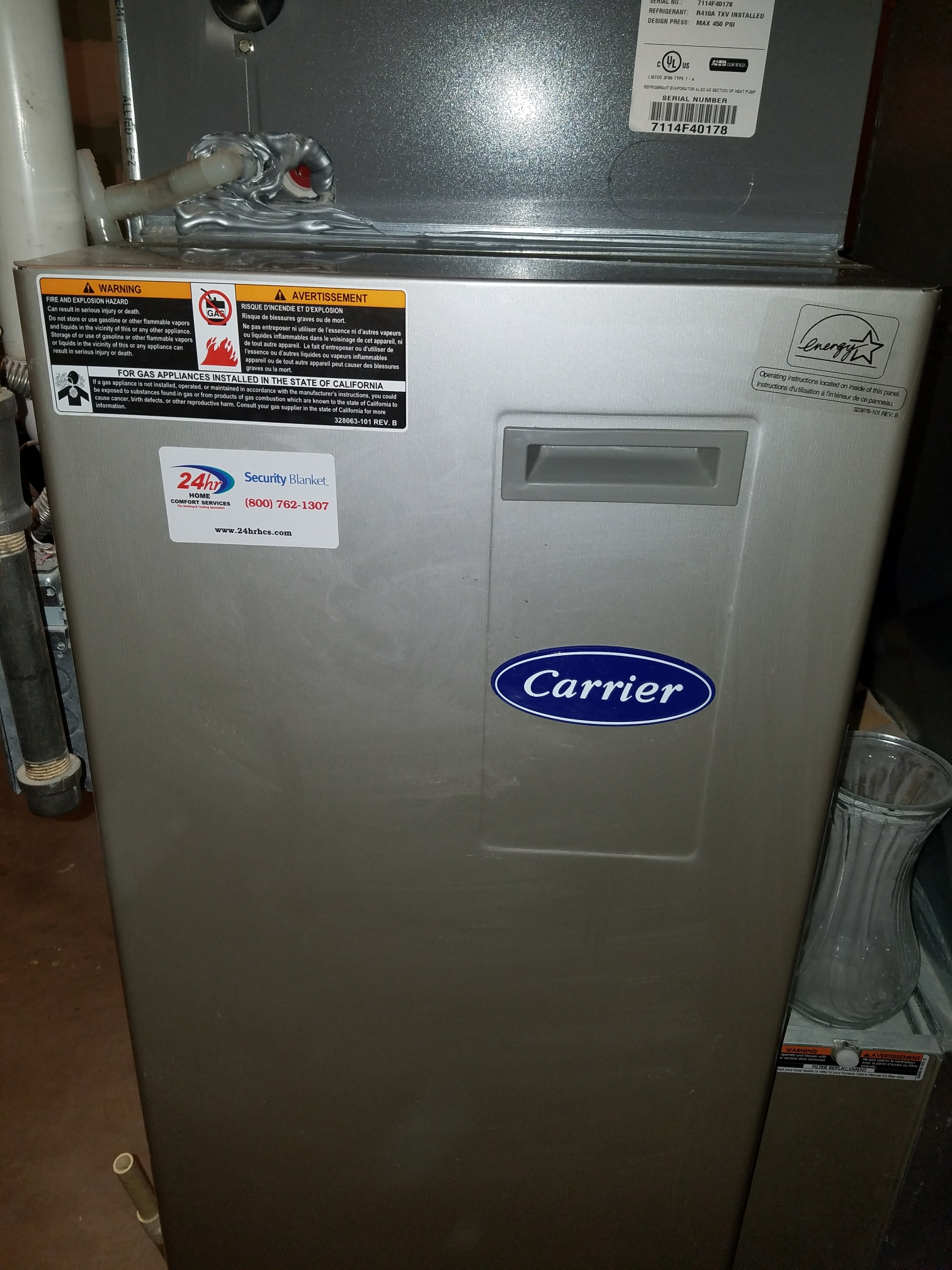 Madison, WI - Maintenance on a Carrier furnace